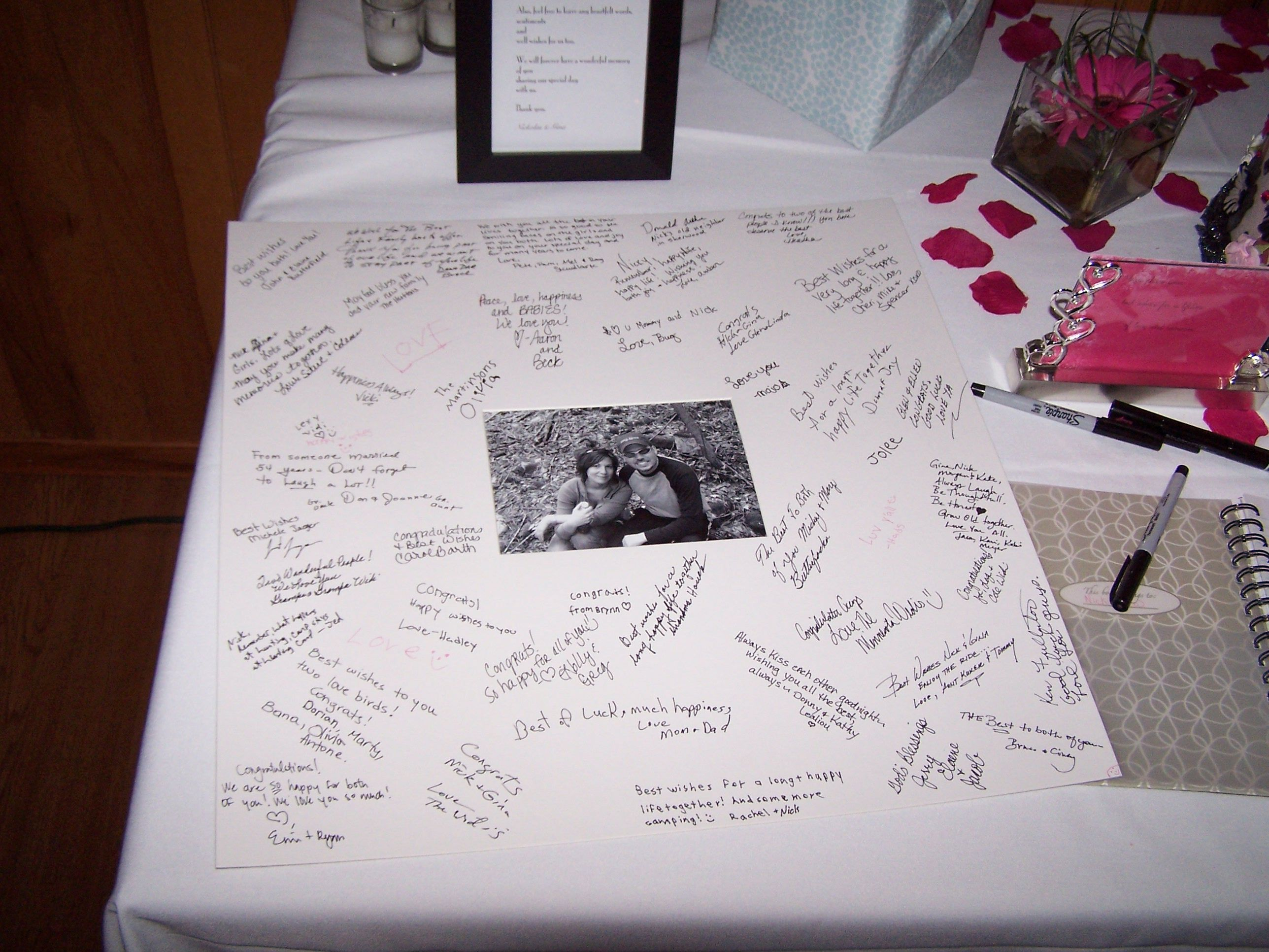 Nick Gina S Fun Wedding Reception At Wally Spot In Green Bay Guest Book Idea With A Signed Matted Picture Well Wishes