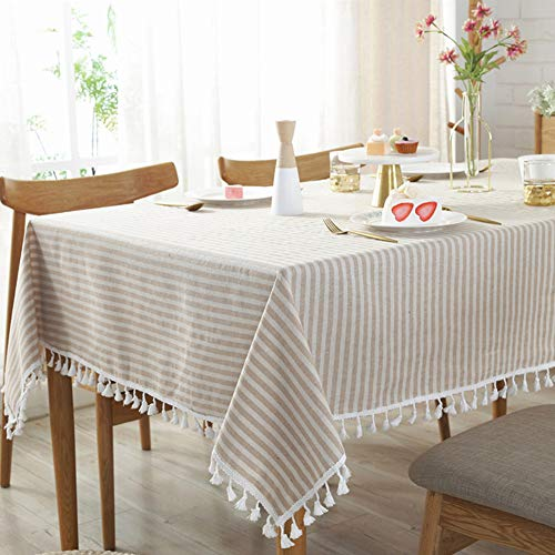 Amazon Com Amzali Stripe Tassel Tablecloth Cotton Linen Table Cloth Stain Resistant Dust Proof Table Cover For Table Cloth Table Top Decor Elegant Tablecloth