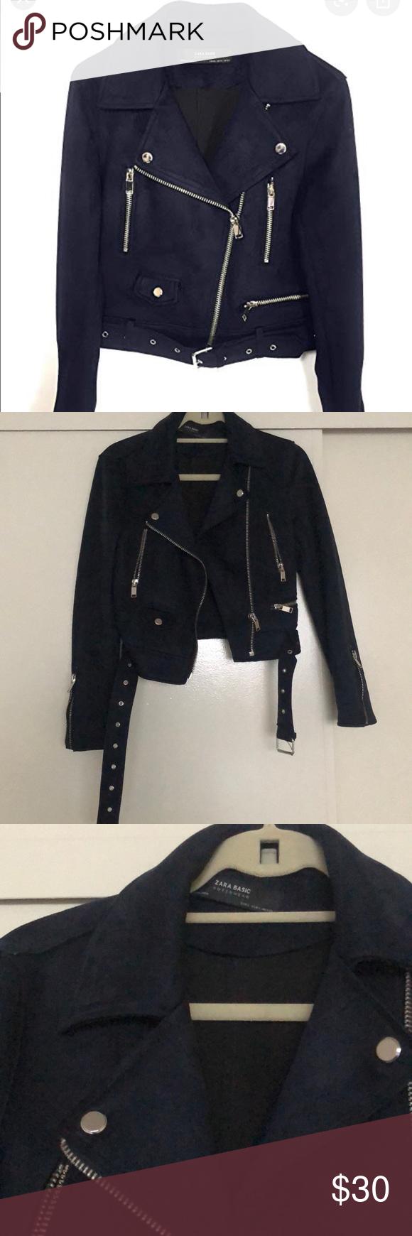 Zara Basic Faux Suede Biker Jacket in Navy Beautiful deep
