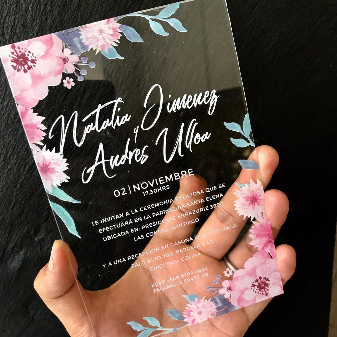Invitación Floral Acrílico