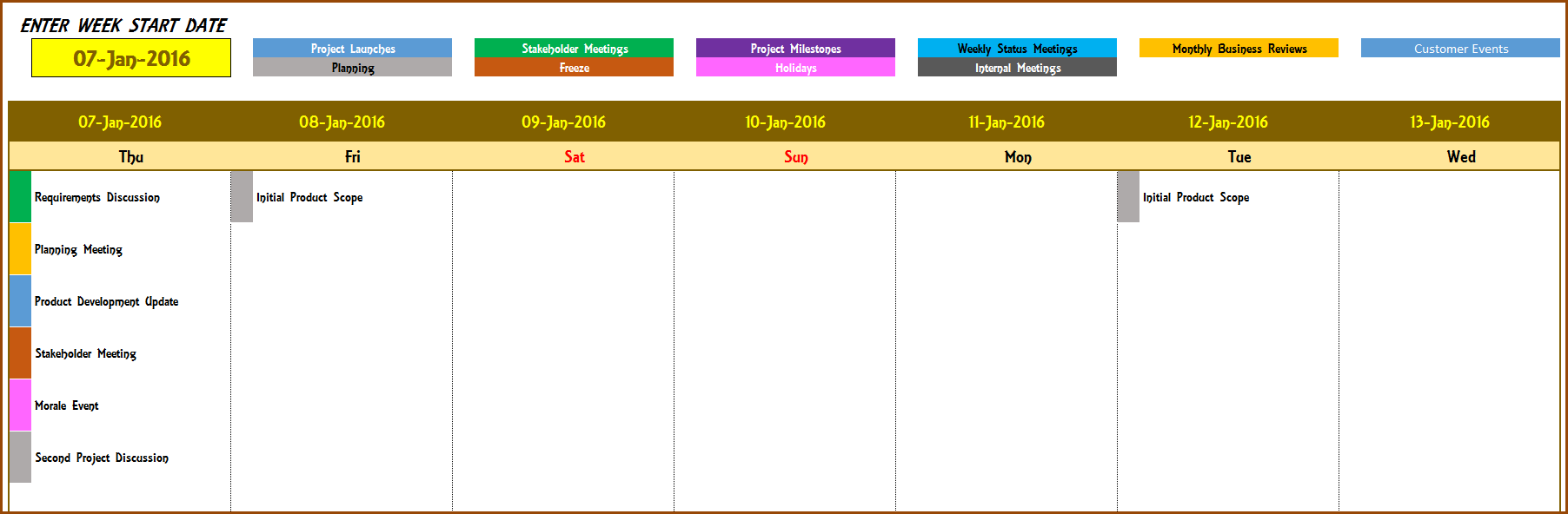 Weekly Calendar  Event Calendar Maker Excel Template  Event