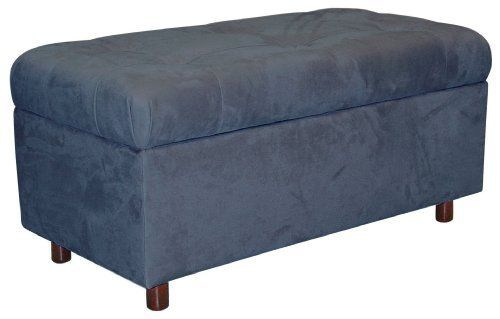 Belden Tufted Storage Bench By Skyline Furniture In Lazuli Blue Micro Suede By Skyline Furniture