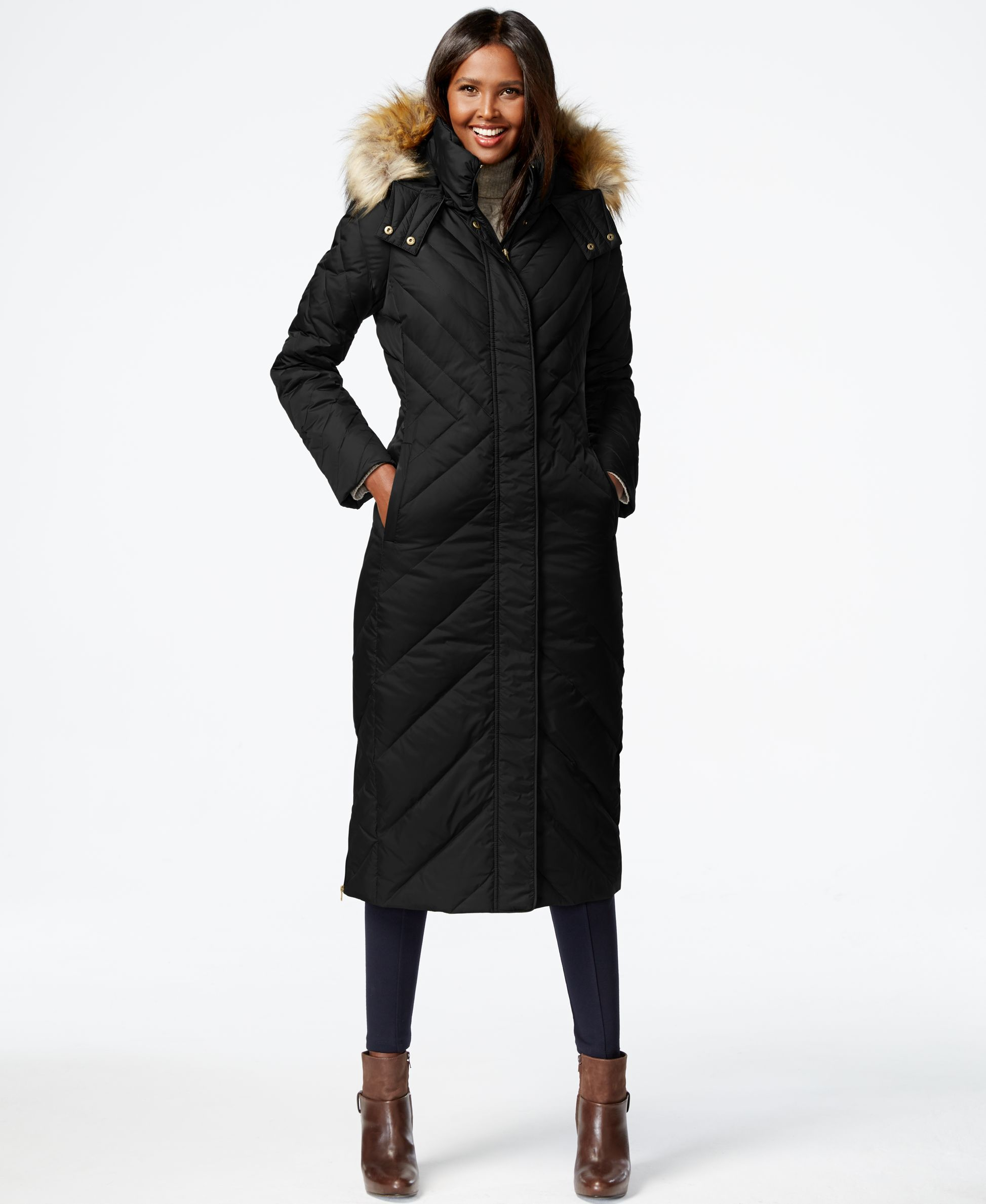 7f1e9ebed Larry Levine Faux-Fur-Trim Chevron-Quilted Puffer Down Coat ...