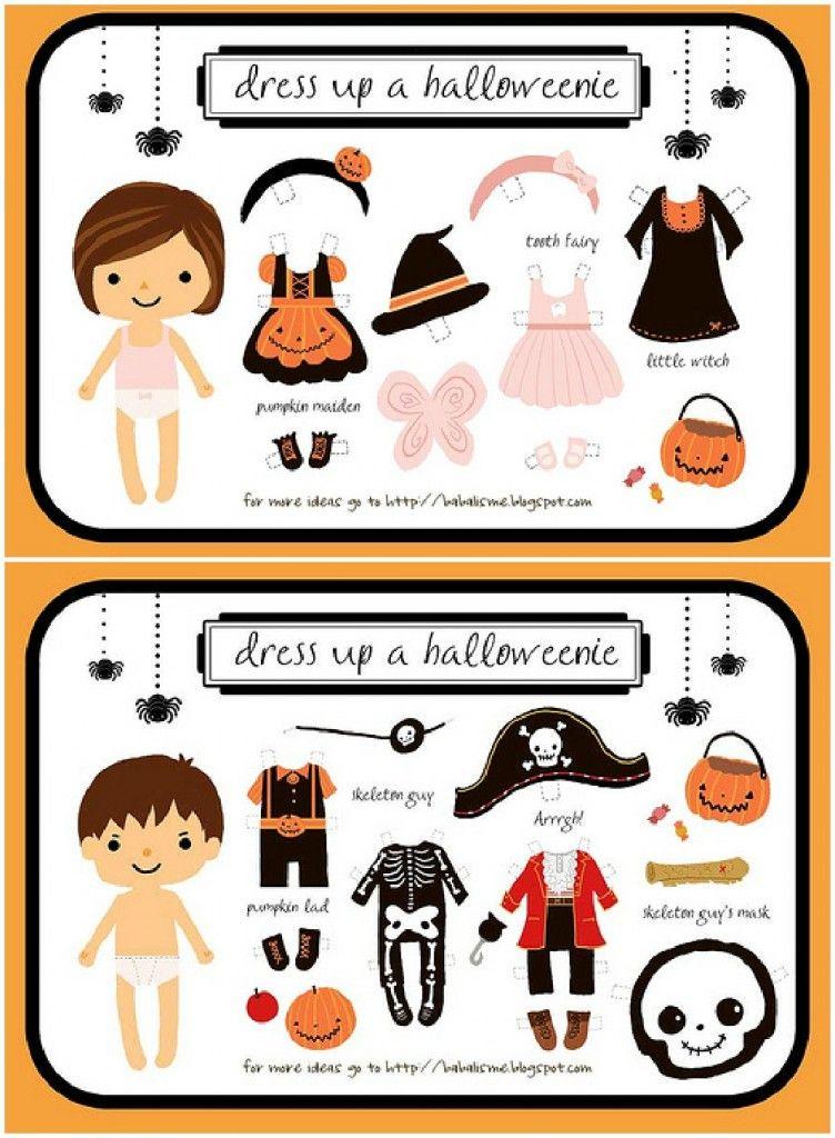 Boy & Girl Dress Up Halloween Paper Dolls
