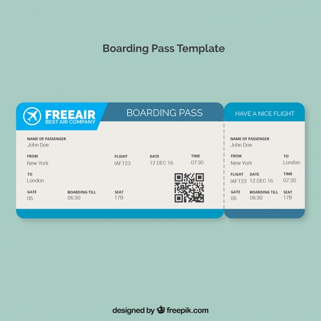 Download Boarding Pass Template With Blue Shapes For Free Boarding Pass Template Book Design Layout Templates Free Design