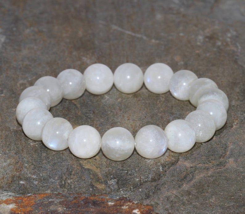 Pietra di luna naturale Bracciale fatto a mano 10mm Grade AA bianco Moonstone Gemstone Bracciale accatastamento Bracciale Bracciale Unisex regalo per lei