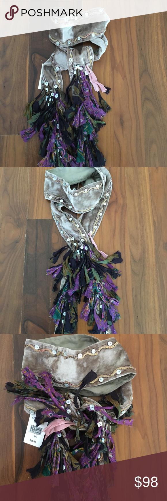 9c4847ddd516 Chan Luu Scarf Chan Luu silvery taupe grey crushed panne velvet silk scarf  with purple/