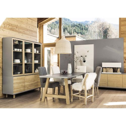 Table de salle à manger effet béton ciré L 220 cm   Salon ...