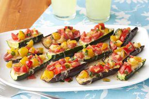 Grilled zucchini brusetta boat