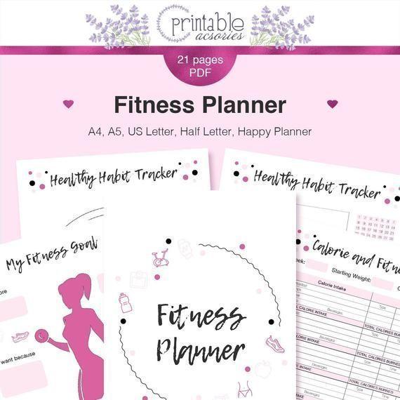 FITNESSPLANER für Happy Planner | Fitness bedruckbarer Einsatz mit Gewichtsverlust ...   - Gesundhei...