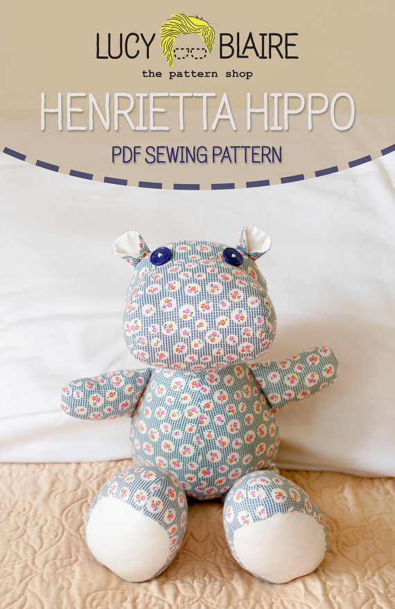Hippo Stuffed Animal Sewing Pattern PDF Instant Download Henrietta ...