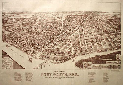 24x36 Bird/'s Eye View 1890 Clarendon Texas Vintage Style City Map