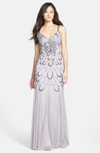 Adrianna Papell Beaded Backless Mesh Gown available at #Nordstrom