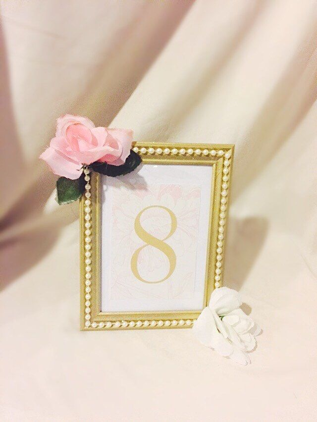 gold painted picture frame lined with pearl beads decor wedding bridal shower