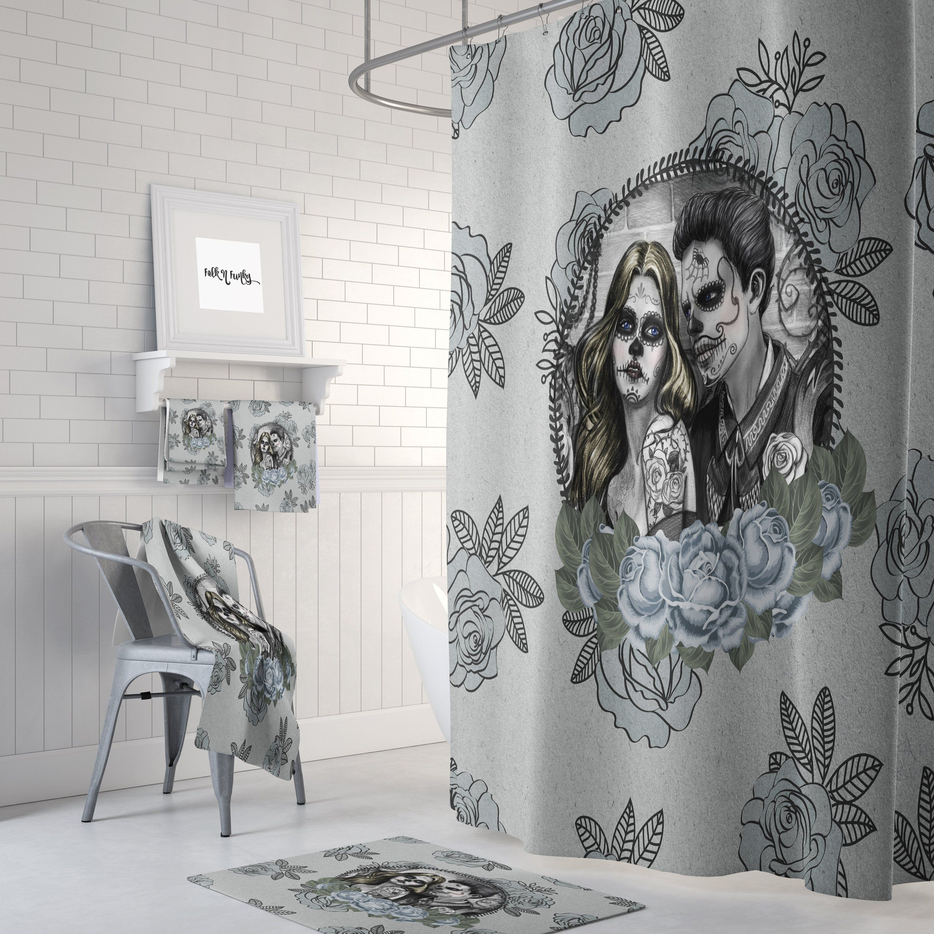 Skull Shower Curtain Day Of The Dead Love Is Blue Design With