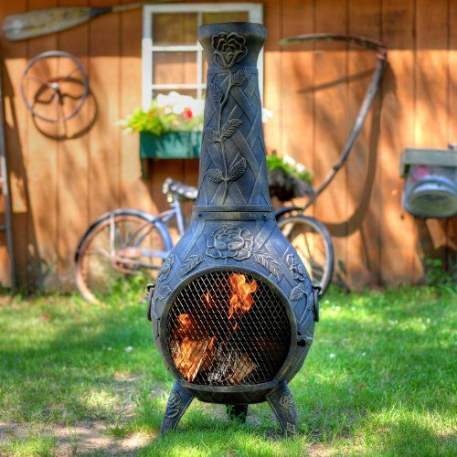 The Blue Rooster Cast Aluminum Rose Chiminea With Gas In Gold