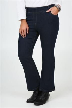 d46ac48d8cf Indigo Pull On Bootcut Jeans With Brown Stitch Detail