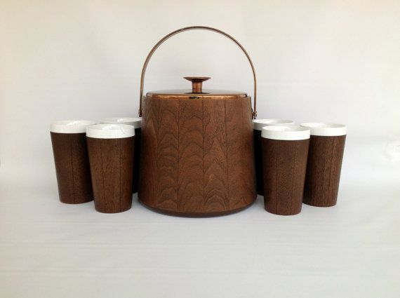 Mid Century Faux Wood Drinkware Vintage Ice Bucket And Insulated Tumblers 7 Piece Barware Set West Bend Thermo Serv Inc Faux Wood Wood How To Bend Wood