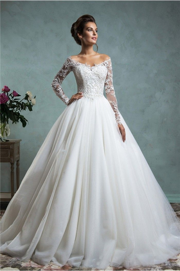 Sexy ball gown off the shoulder tulle lace wedding dress for Tulle wedding dress with sleeves