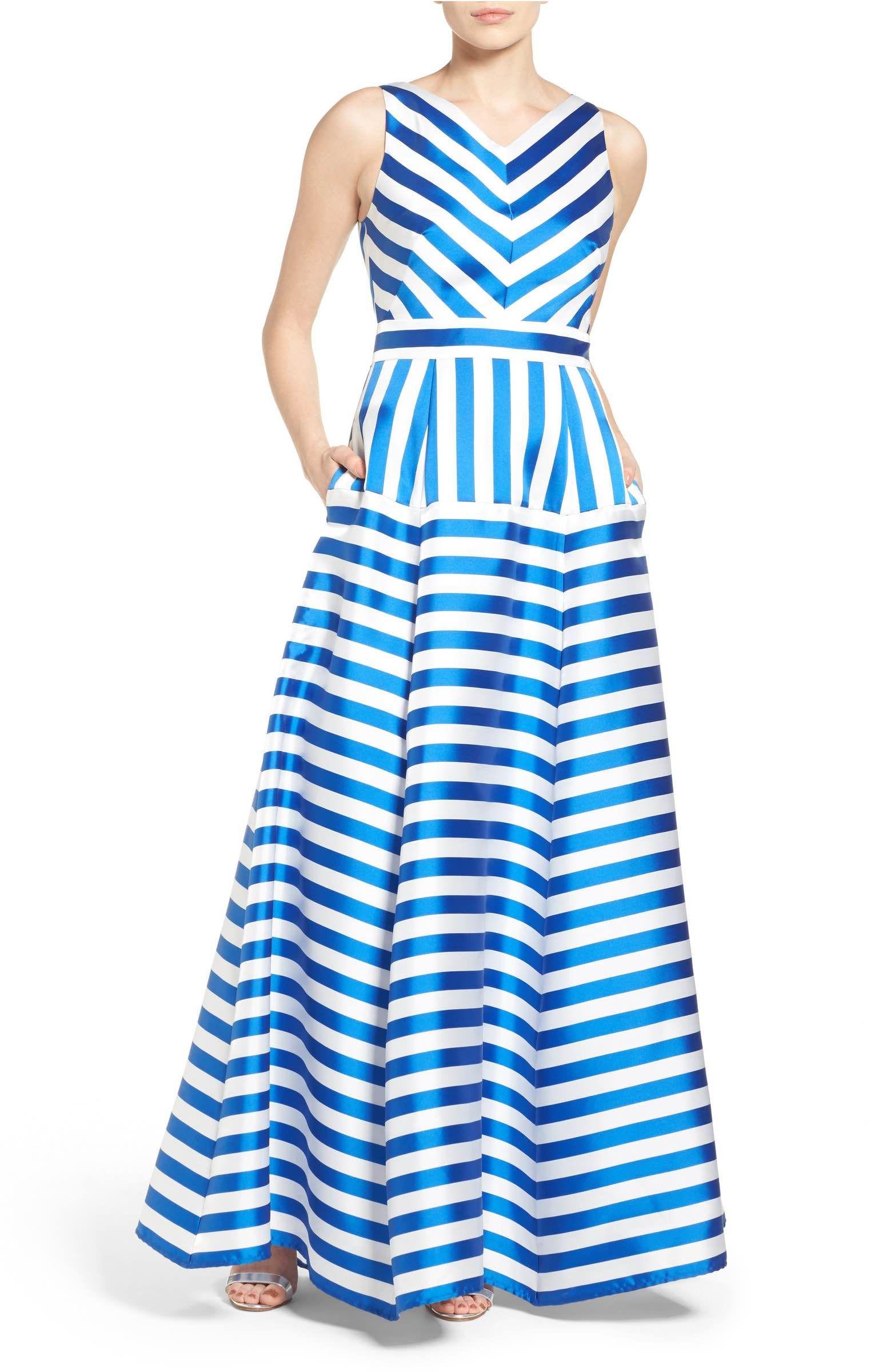 Main image eliza j stripe jacquard ballgown dresses pinterest