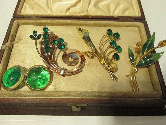 Three Vintage Sterling Craft Vermeil Coro Emerald Green Spray Pins Great Lot