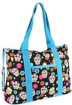 "New Sugar Skulls Blue Overnight Bag Purse Very Versatile Extra Large18"" x14"" #BoutiqueGlasses #BagPurseTote"