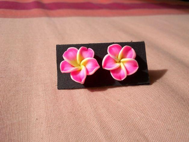 Pendientes Flor de Fimo Hawaiana Fucsia - Rosa