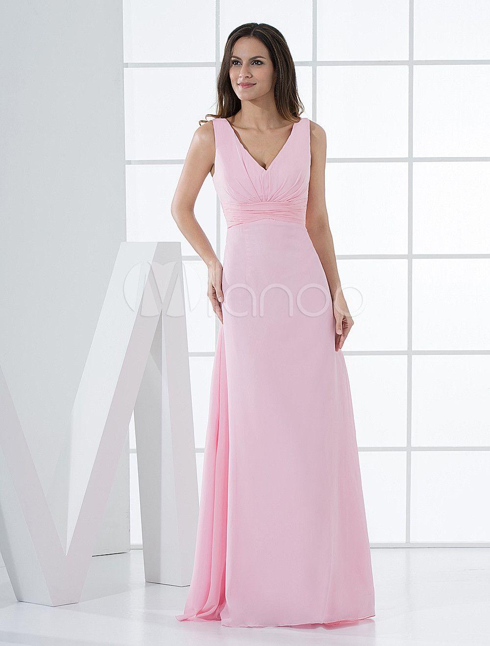Robe demoiselle d'honneur en chiffon rose de col V