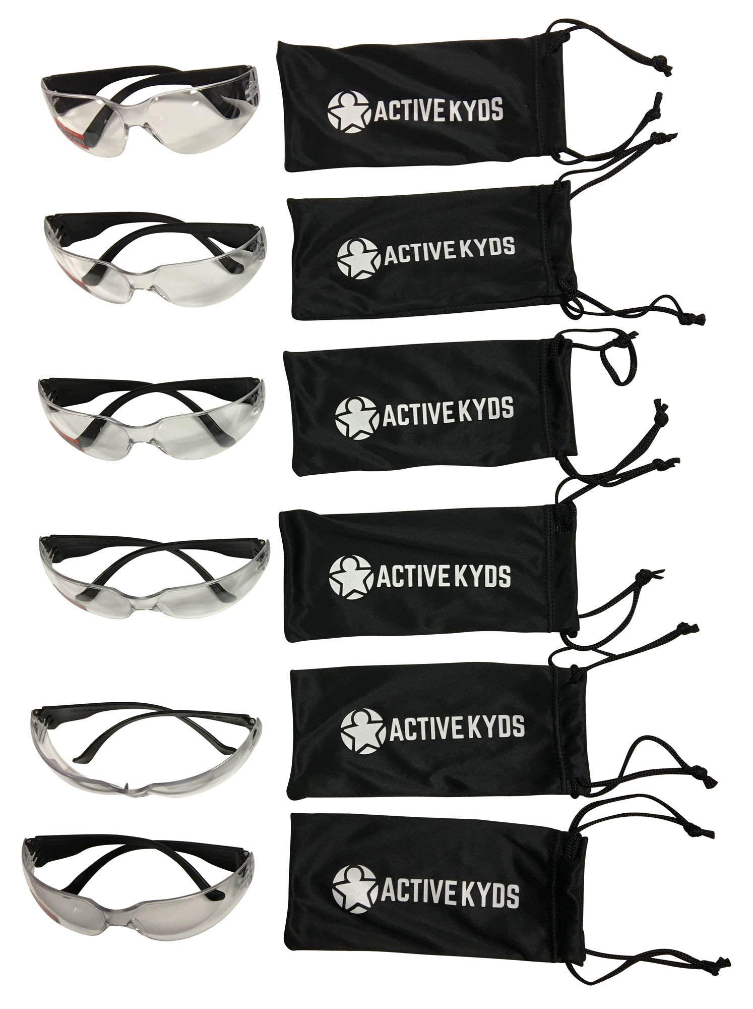 6 pack kids safety glasses with black stem
