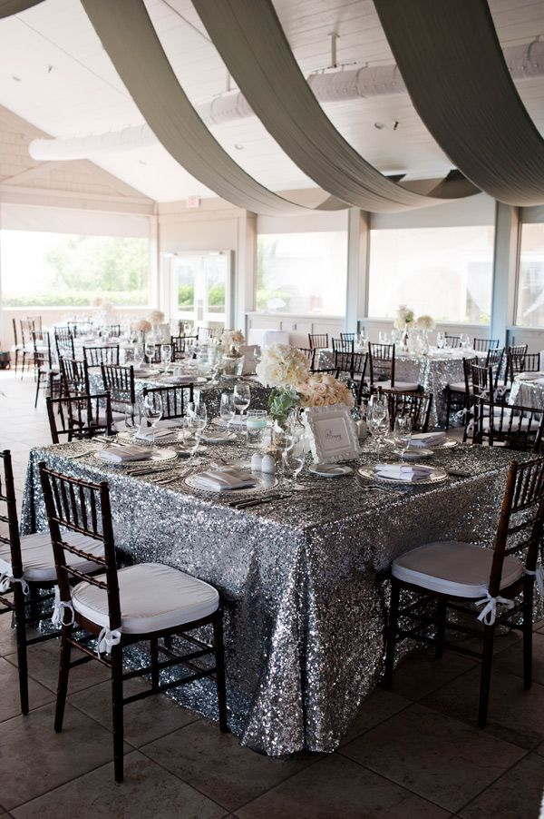 Southern Wedding   Glitter Linens Contrasted With Wood