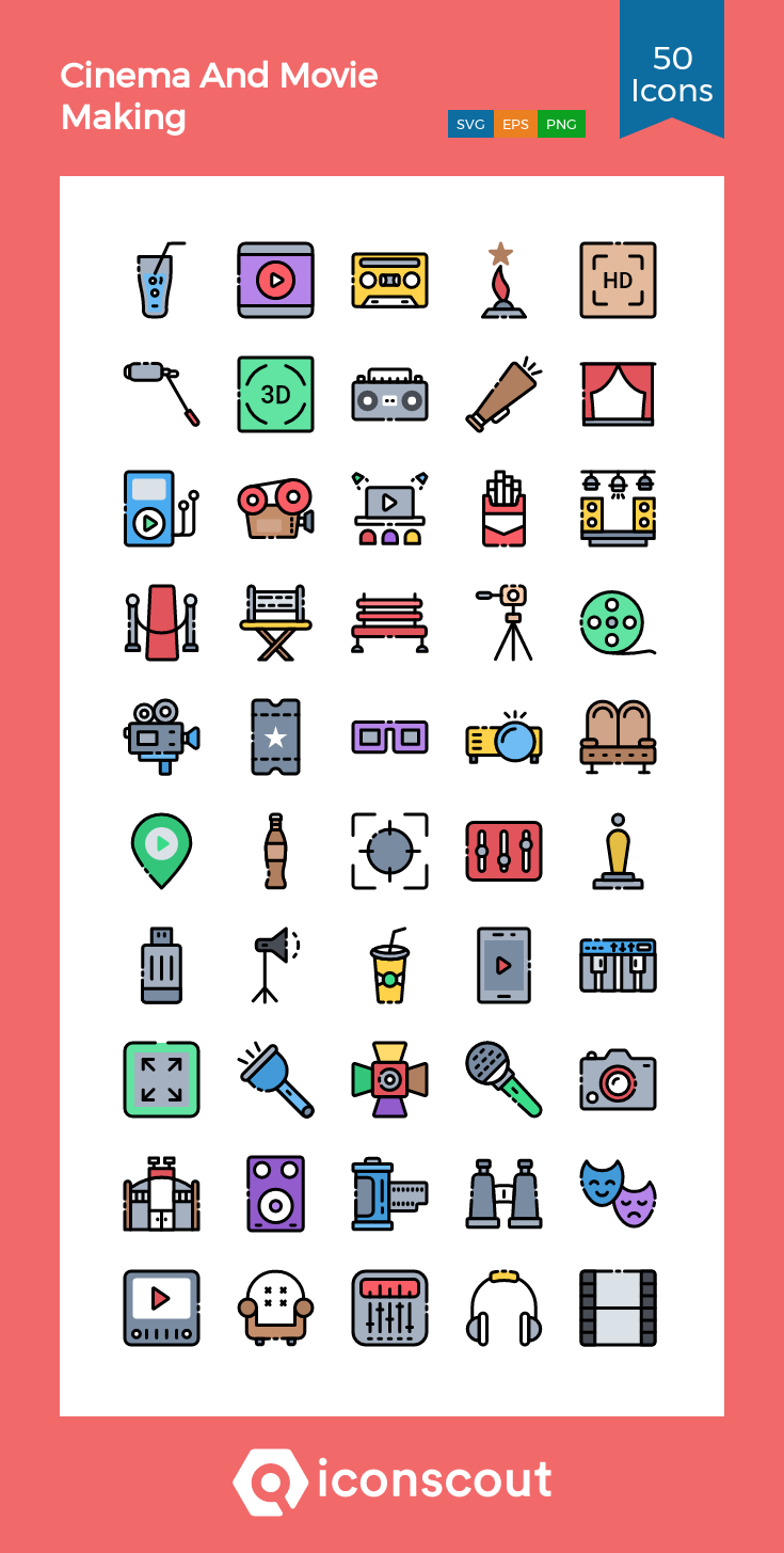 Download Download Cinema And Movie Making Icon pack - Available in ...