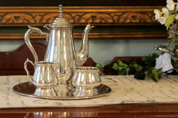 Childrens Silver Plate Tea Set on a Tray.    Nice heavy weight tea set.