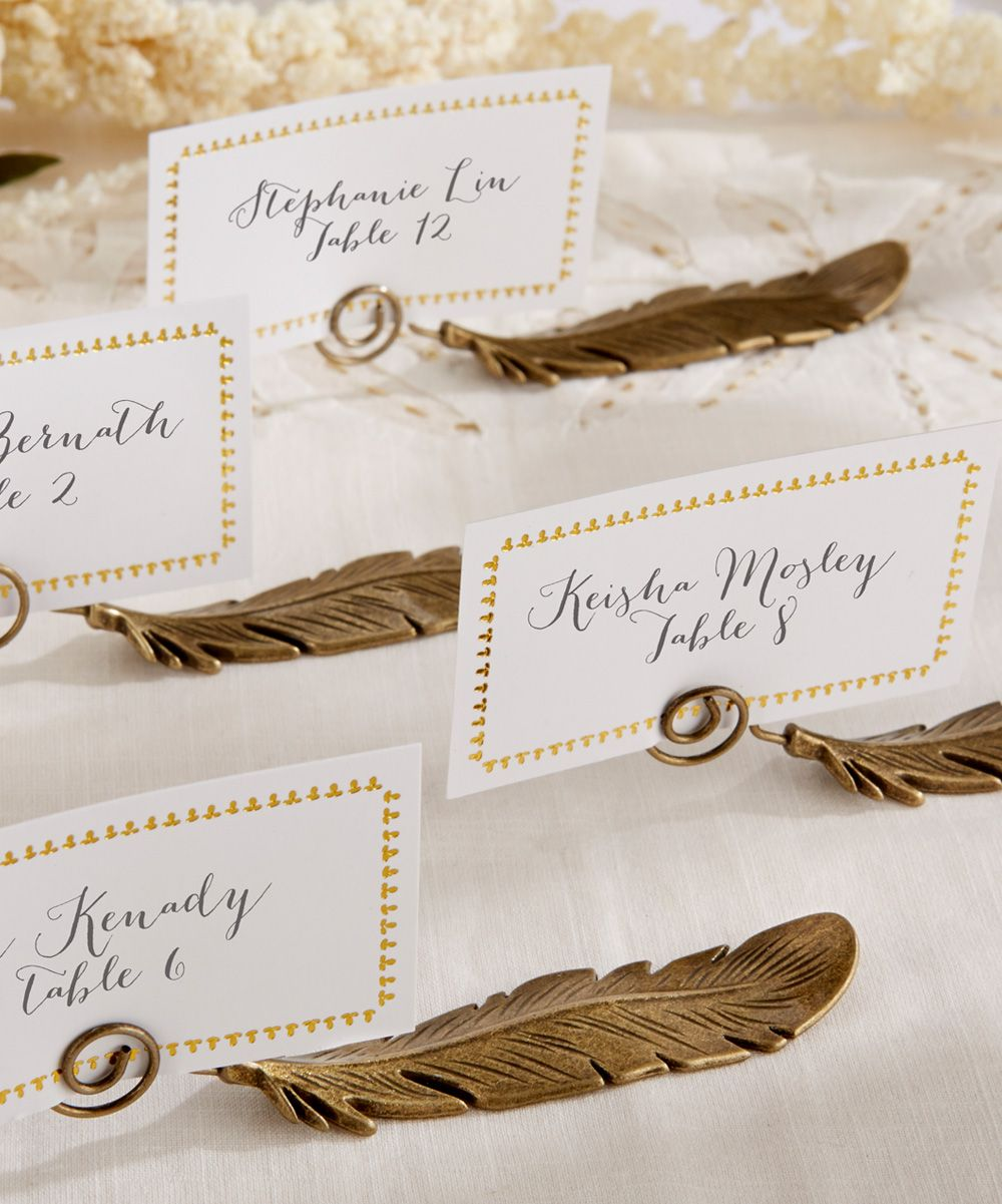 Gilded Gold Feather Place Card Holder - Set of 12 | Wedding Ideas ...