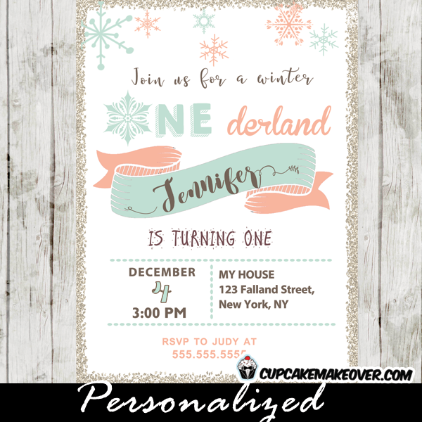 Winter onederland birthday invitations coral pink tiffany blue winter onederland birthday invitations coral pink tiffany blue snowflakes filmwisefo