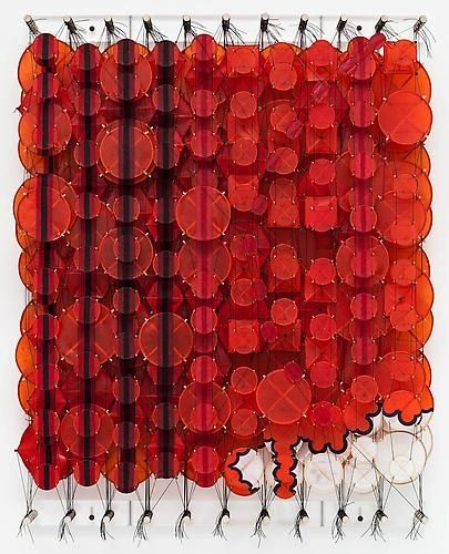 Jacob Hashimoto - Soon it would be 100%, 2009 Acrylic, paper, bamboo, nylon 40 x 32 x 8 inches
