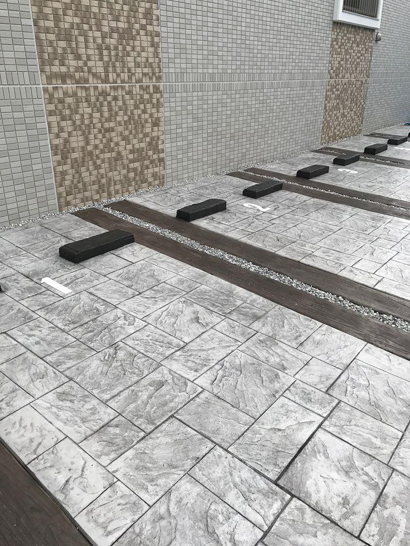 スタンプコンクリート施工事例 ウッドプランク イタリアンアシュラー スタンプコンクリート コンクリート コンクリートタイル