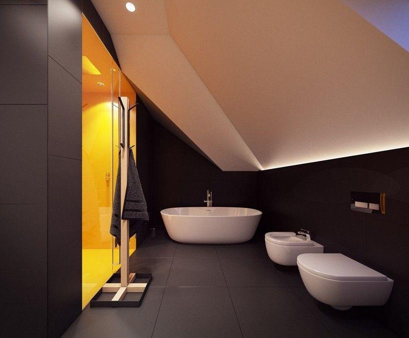 Salle de bain noir et blanc sous les combles avec cabine for Cabine de douche sous comble
