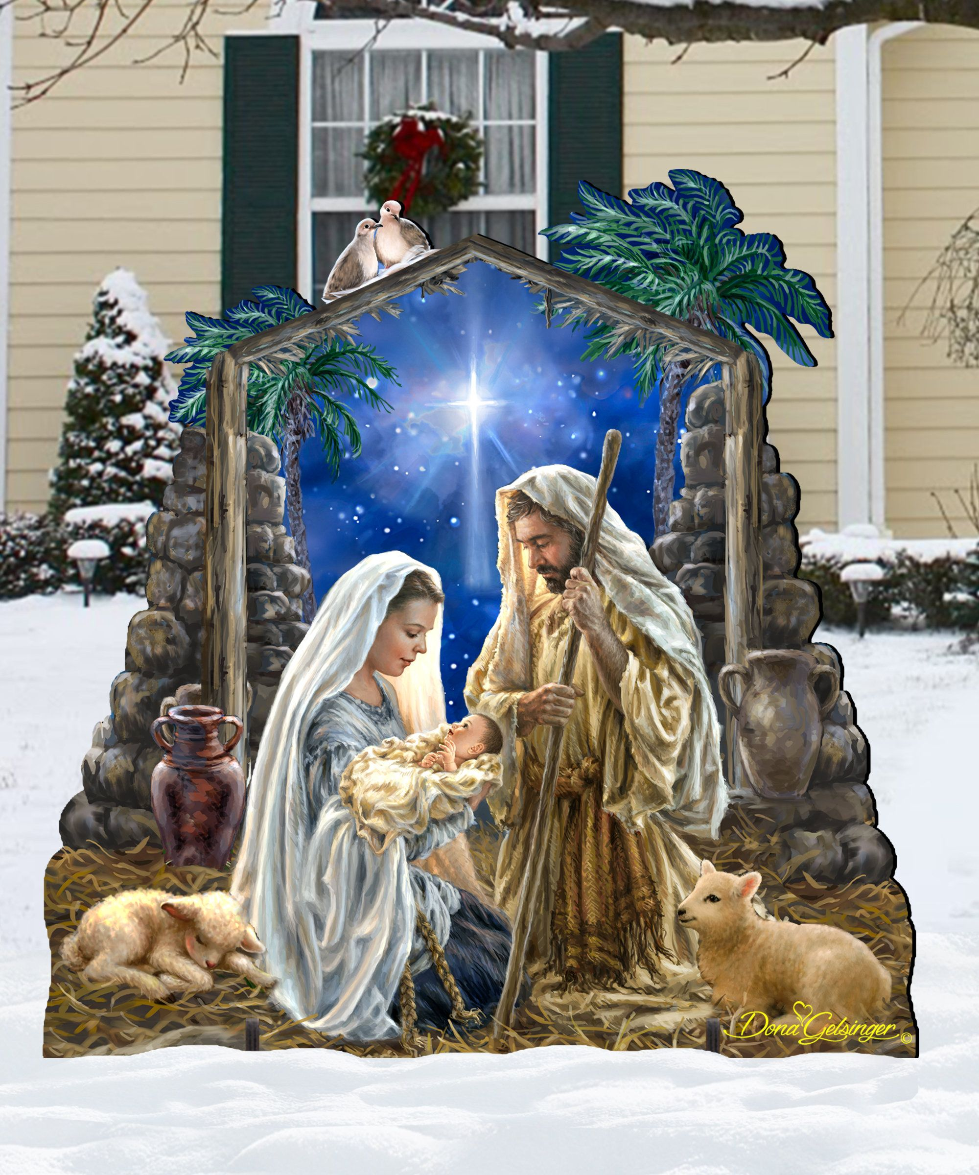 Outdoor Nativity Set Wooden Free Standing Christmas Decoration By Dona Gelsinger 8461010f 1722 Outdoor Nativity Sets Outdoor Nativity Outdoor Nativity Scene
