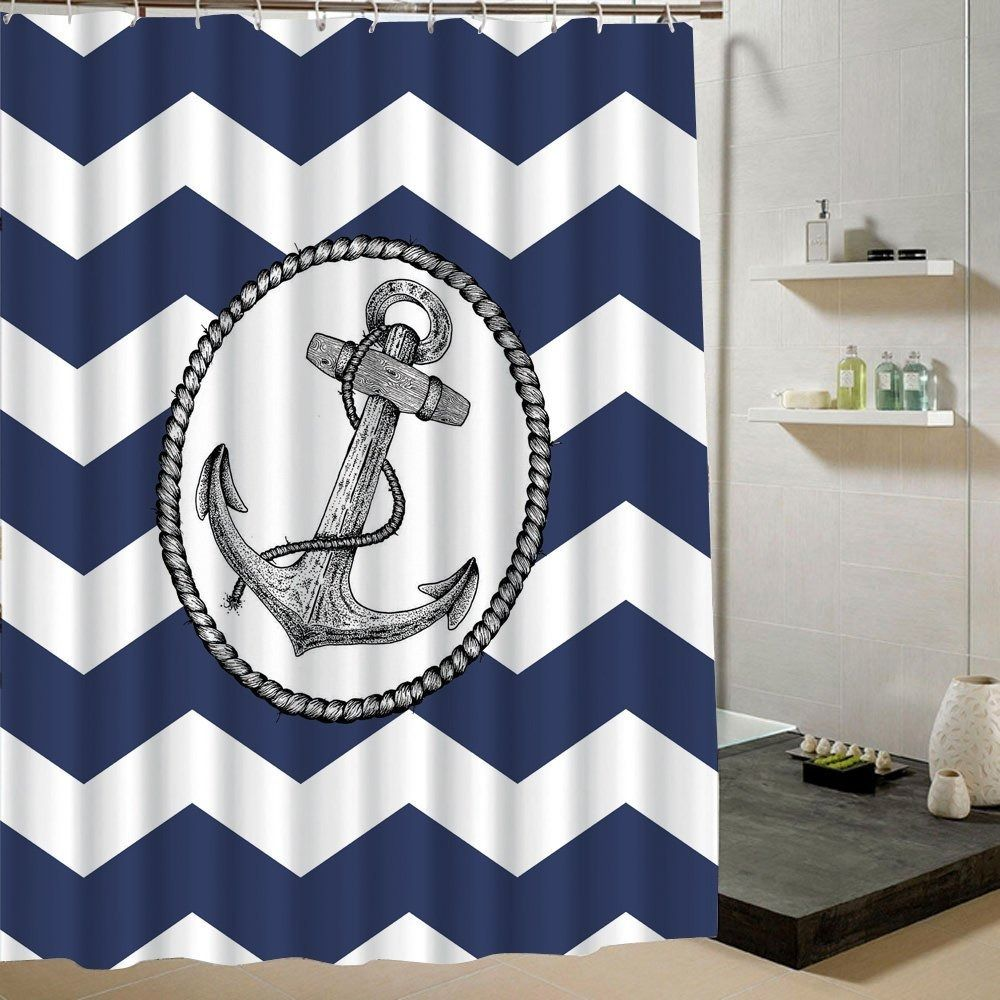 Chevron shower curtain with anchor - Bathroom Shower Curtain Anchor Fabric Stripe Waterproof Polyester 180x200cm Unbranded Nautical