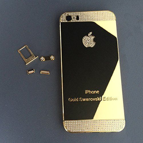 New for iPhone 5S 24K 24KT 24CT Gold Swarovski Edition Diamond Crystals  Mirror Shiny Gold with Diamond Glass Empty Alloy Metal Back Cover Housing  Middle ... 9b4ab01af6