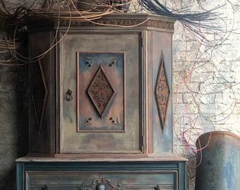 Floral Painted Vintage Vanity - Vintage Makeup Vanity - Dressing Table - Painted Vanity - Painted Furniture - Bedroom Furniture
