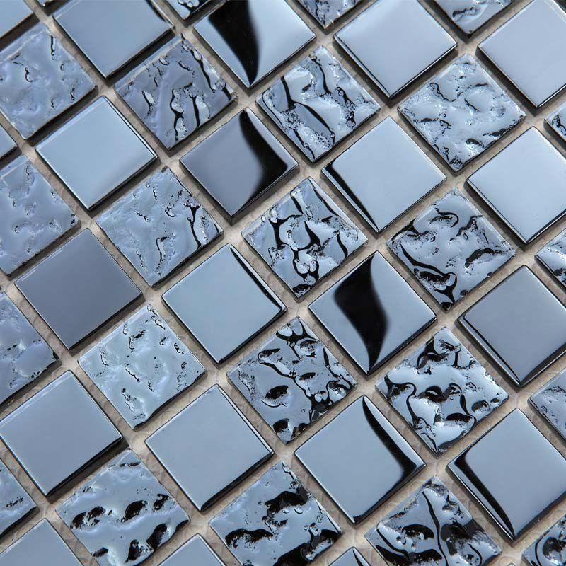 Metallic Mosaic Tile Mirror Brushed Black Kitchen Backsplash Bathroom Wall Metal Tile Aluminum Mosaic Tile Mirror Bathroom Backsplash Backsplash Bathroom Wall