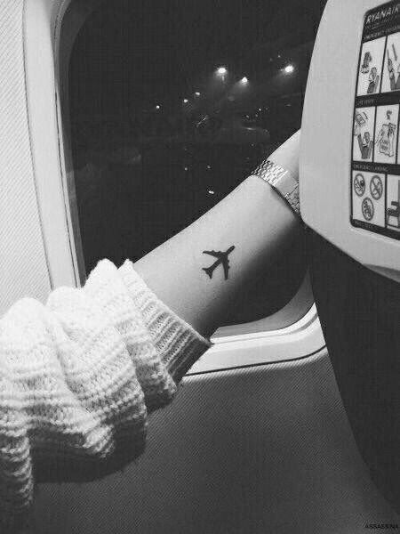 "Couples tattoo idea...a plane with ""L'Amour tojours"" which translates to, ""I'll fly with you"""