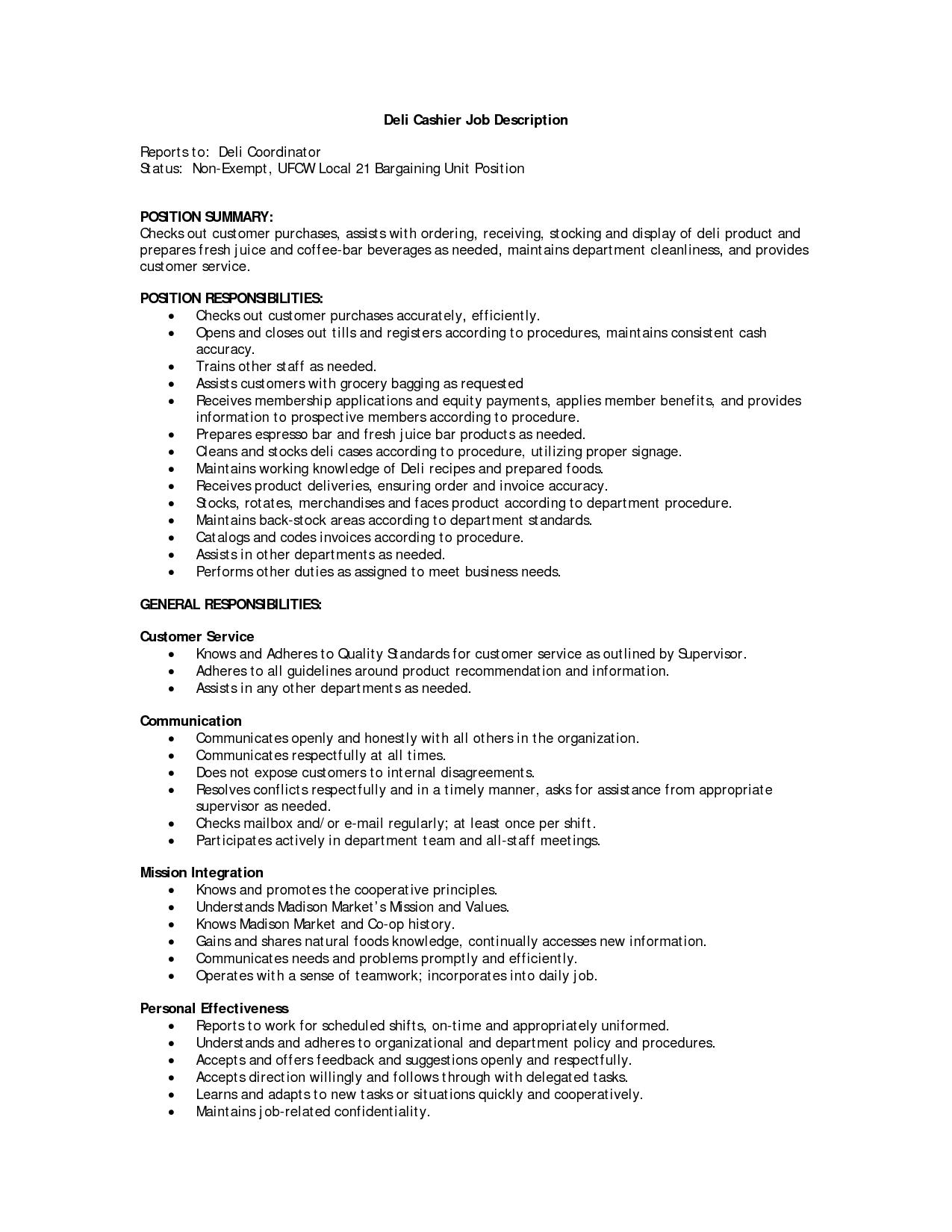 Awesome Restaurant Cashier Job Description Sample Contemporary For Resume Customer Service Resume Job Description Server Resume
