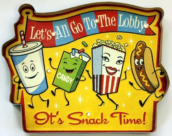 Movie Theater LED Metal Sign Snack Time Vintage Home Theatre Decor ...