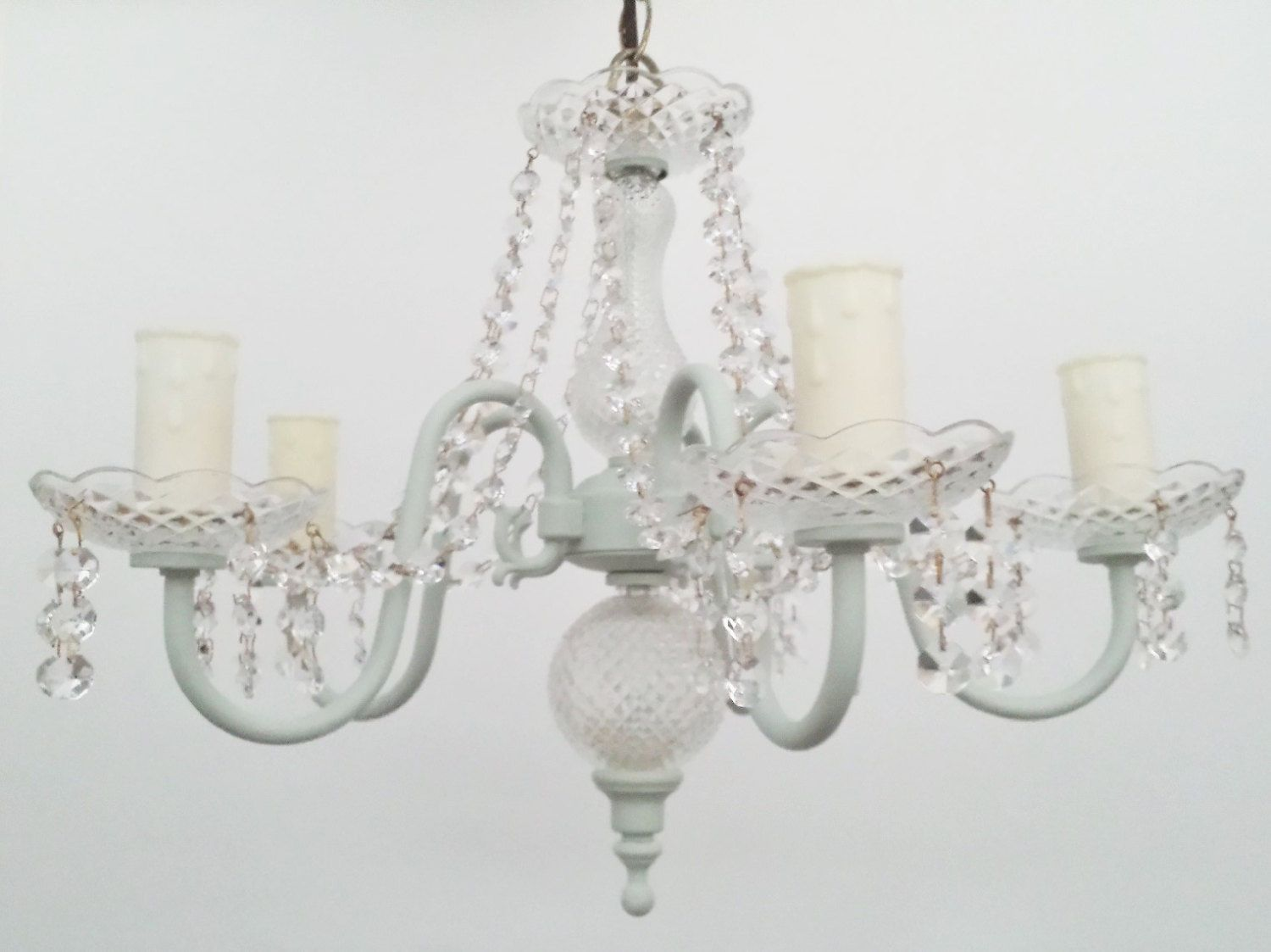Crystal chandelier lighting heavenly duck egg leaded crystal upcycled lighting 1950s marie therese pendant lighting fixture chalk paint by
