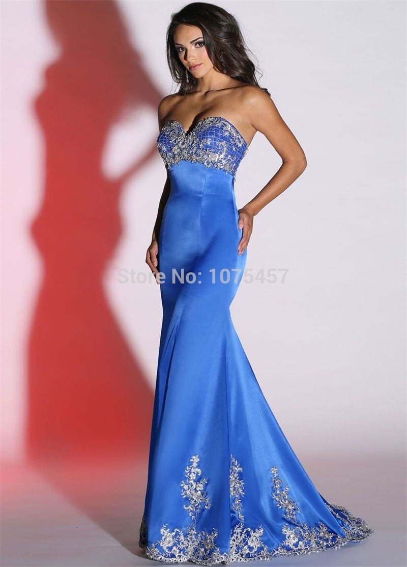 Click to buy ucuc latest design royal blue prom dress sweetheart