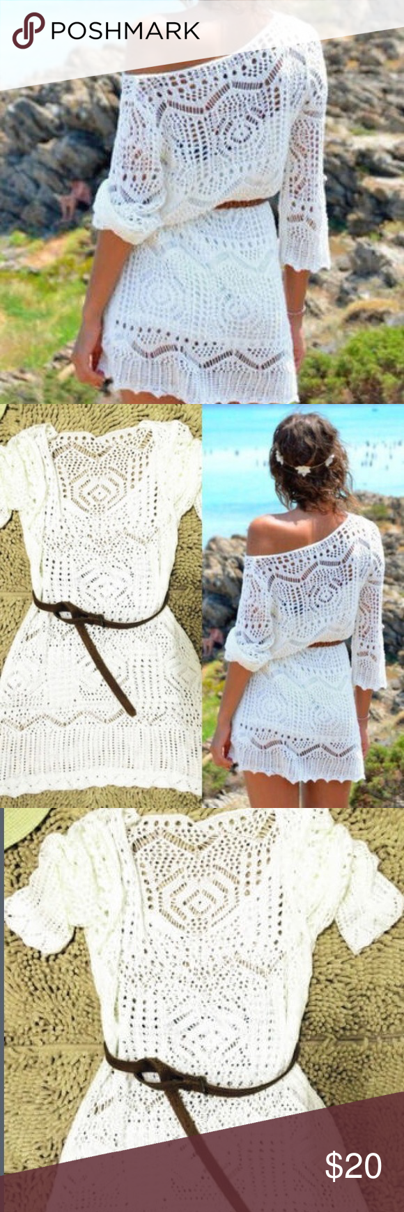8744a5e23319e COMING SOON Sexy Boho style dress Fashion Womens White Summer Boho Sexy  Lace Hollow Knit Bikini Swimwear Cover up Crochet Beach Mini Dress Tops  Blouse ...