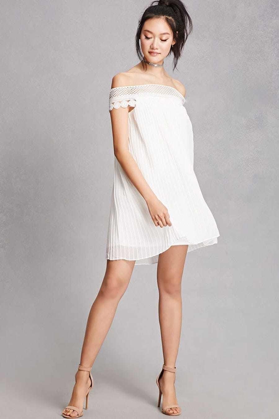 Pleated chiffon shift dress forever 21 dresses