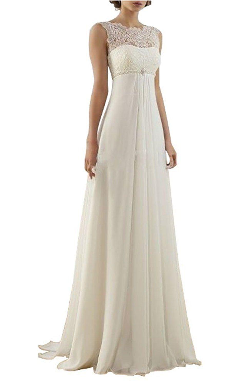 Bridal gowns for beach weddings  Lovelybride Empire Cap Sleeve Long Chiffon Lace Maternity Beach
